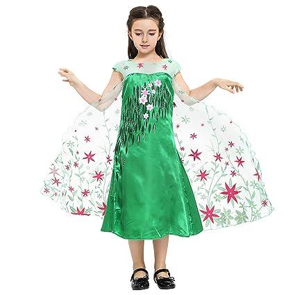 Katara - Disfraz de la princesa Elsa - Frozen Fever - vestido verde estampado con flores rojas de la Reina de las Nieves, traje de fiesta para niñas - ...