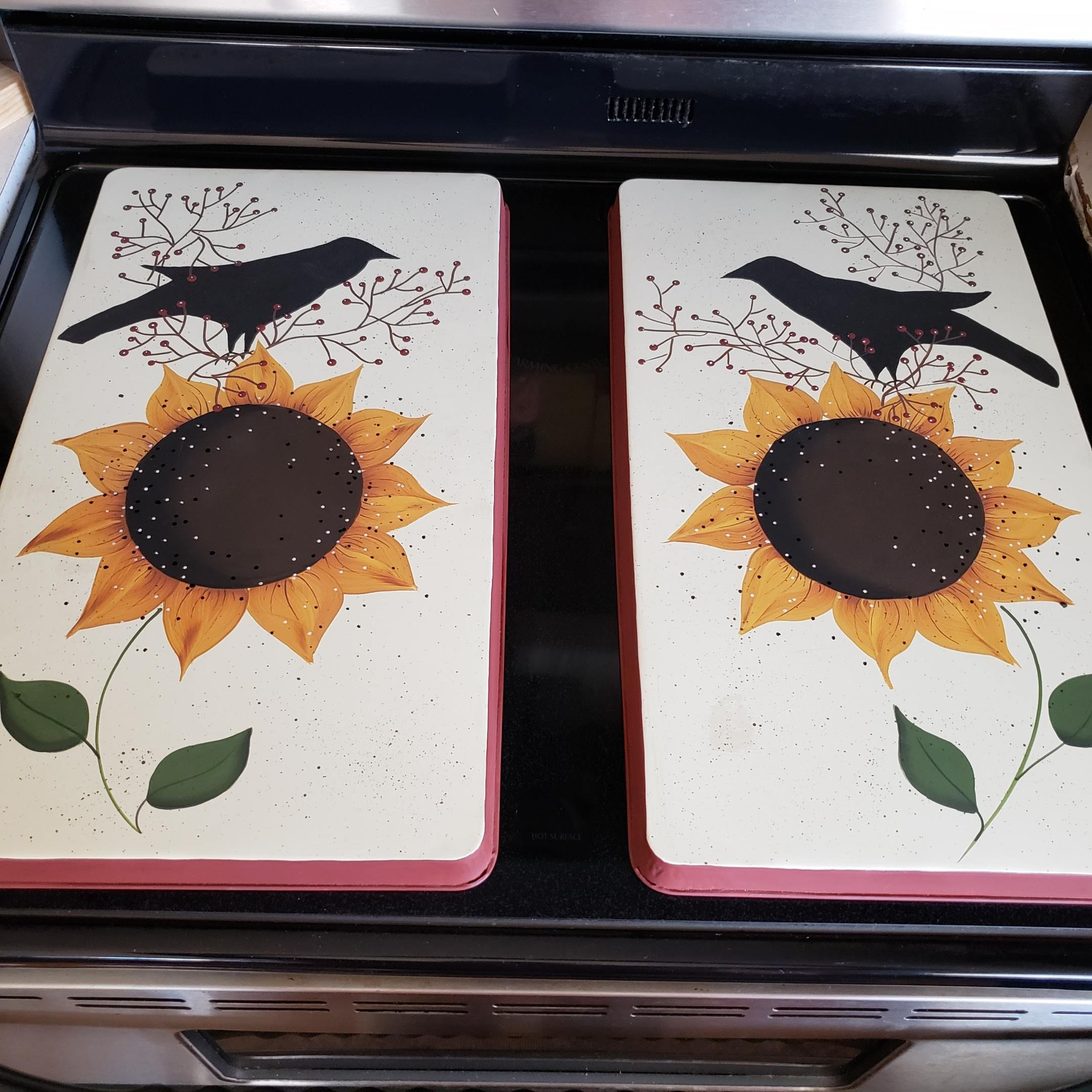 Primitive Country Decor Sunflower Crow Farmhouse Stainless Steel Stove Burner Cover Set of 2