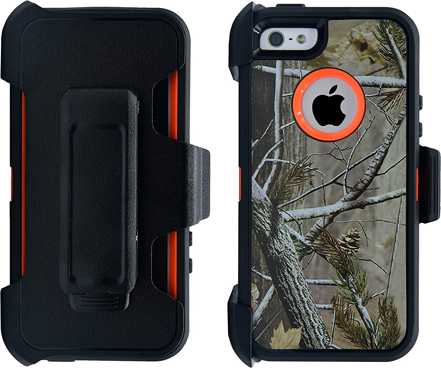 Full Body Life-Time Protection WallSkiN Turtle Series Holster Case for iPhone 5 // 5S // SE Black//Black Protective Heavy Duty /& Carrying Belt Clip 3-Layer with Screen Protector