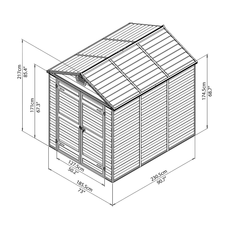 Palram- Caseta SkyLight 6x8 Gris- Aluminio y policarbonato.: Amazon.es: Jardín
