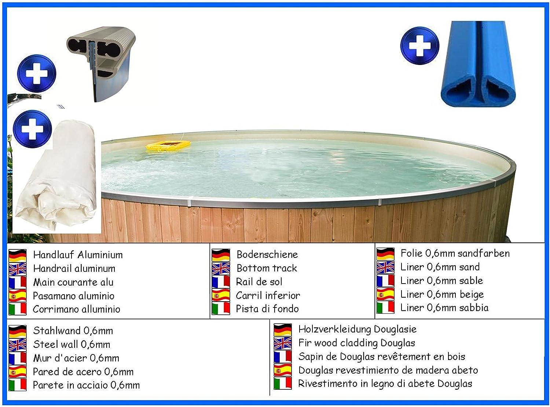 Piscina de pared de acero forma de redonda color: beige 2,00m x 0,90m liner 0,6mm con paneles de madera de abeto de Douglas sin filtro piscina