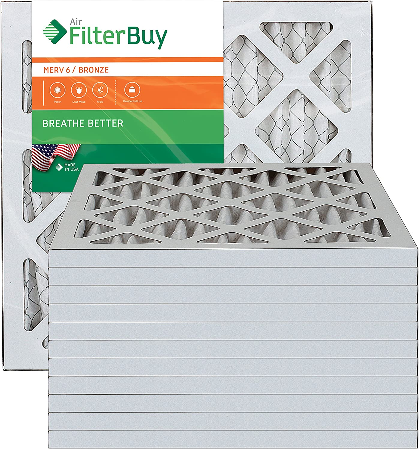 100/% produced in the USA. Pack of 12 Filters AFB Bronze MERV 6 20x24x2 Pleated AC Furnace Air Filter