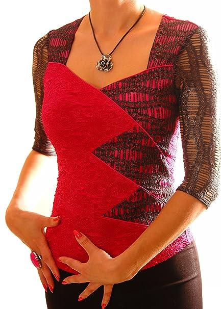poshtops inserto de malla Top preciosos de la mujer ver a través de 3/4 Mangas Elástico señoras blusa tamaño de la camiseta S - XXXL 8 10 12 14 16 18 20 22 ...