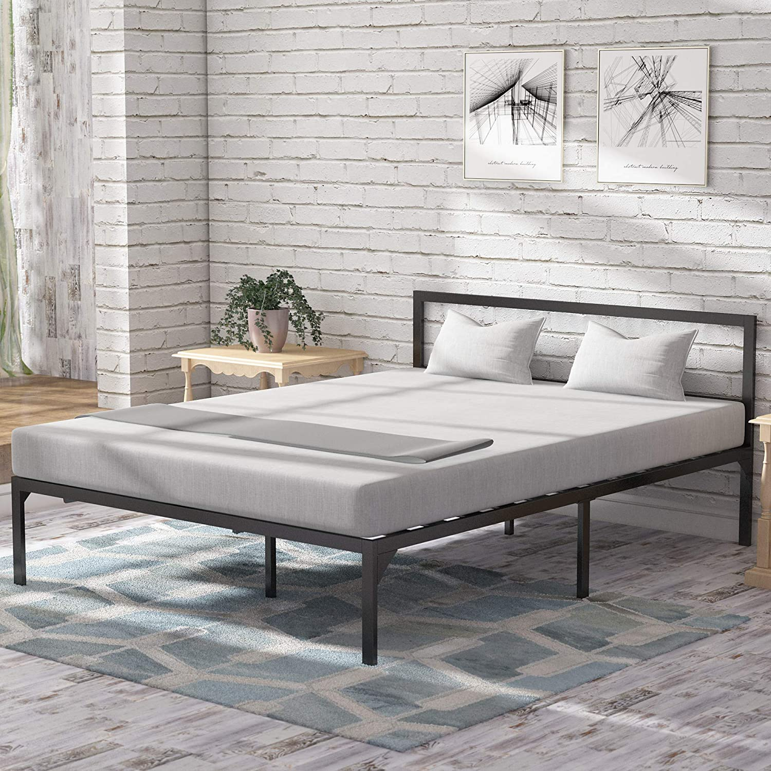 YITAHOME King Size Bed Frame with Headboard/14 Inch Platform/Strong Metal Slat Support/Mattress Foundation/No Box Spring Needed