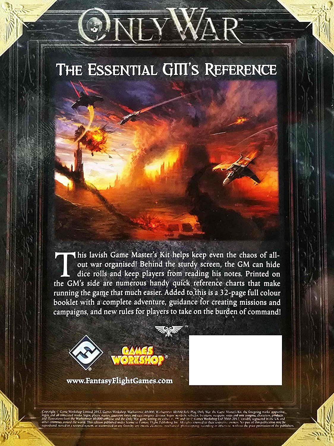 Warhammer 40,000 RPG Roleplay 40K 30K Games Workshop Forgeworld OOP Only War: Game Master/'s Kit Warhammer 40 Fantasy Flight Pub Inc IG02 Role Playing /& Fantasy ANF: Hobbies and Games GAMES /& ACTIVITIES // General Only War: Game Masters Kit