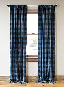 Carstens, Inc Carstens Wrangler Blue Lumberjack Buffalo Plaid (Set of 2) Curtain Panels, One Size