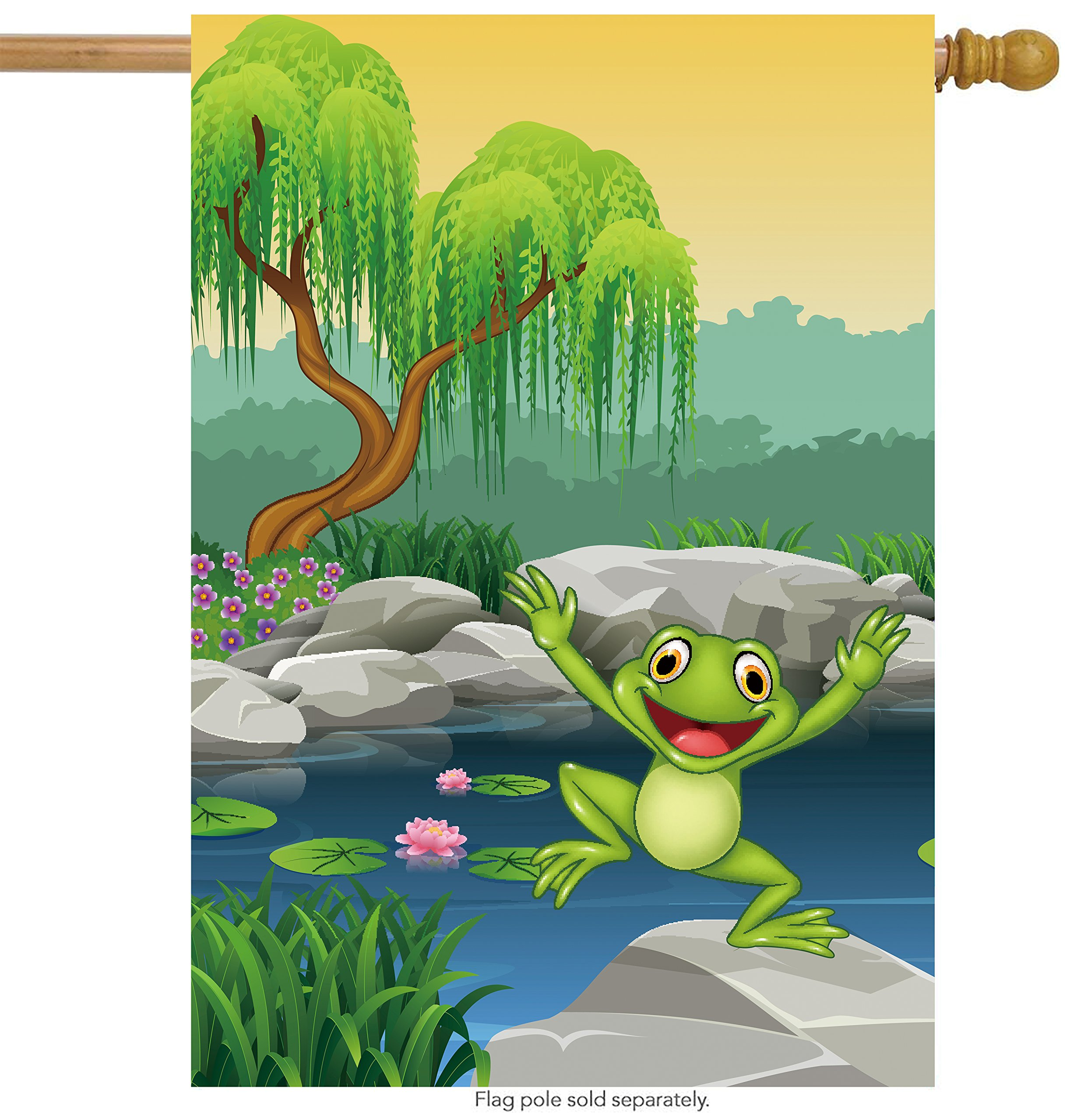 ShineSnow Animal Frog Lotus Flower Tree House Flag 28'' x 40'' Double Sided, Polyester Spring Cartoon River Lily Cute Funny Smile Welcome Yard Garden Flag Banners for Patio Lawn Outdoor Home Decor