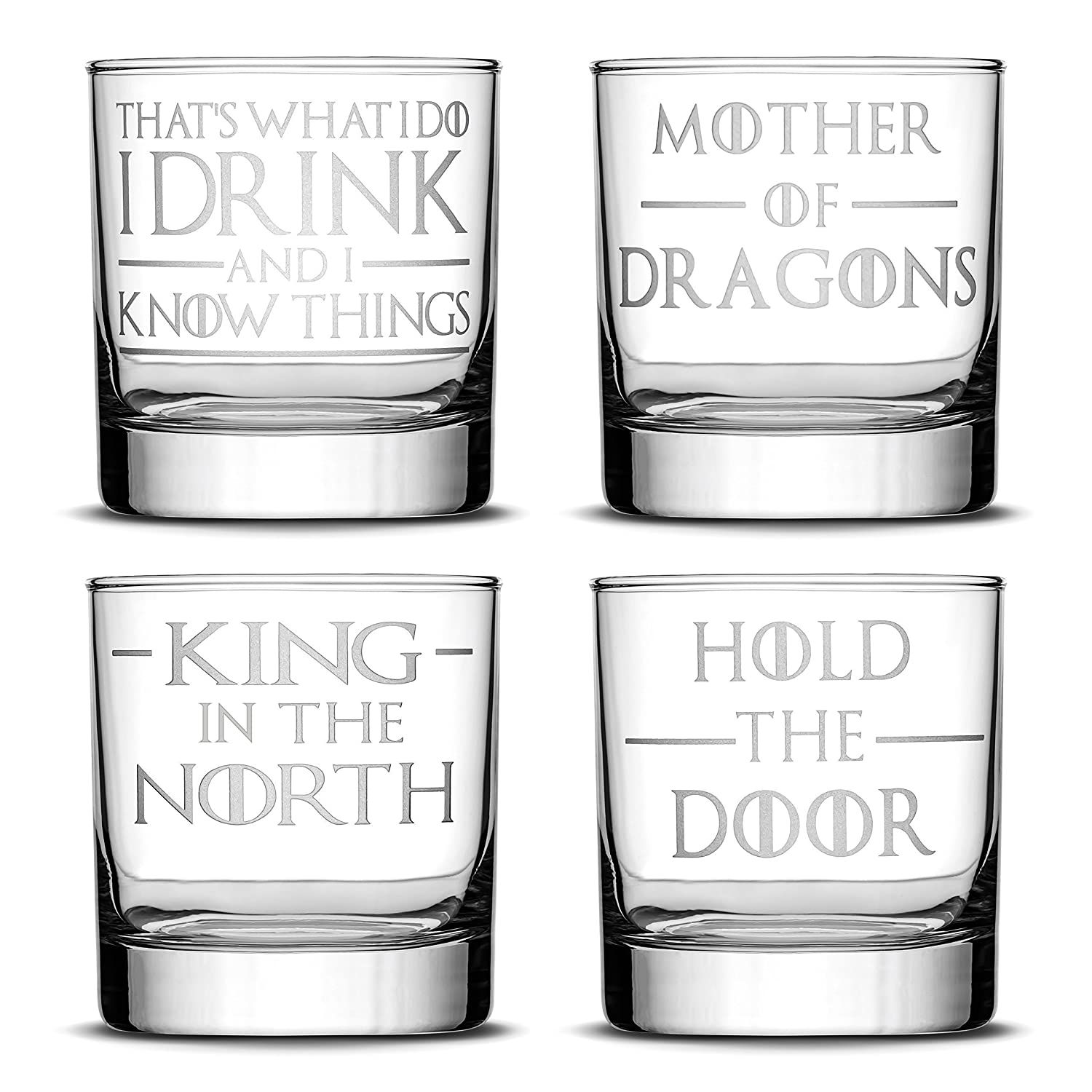 Amazon Com Integrity Bottles Set Of 4 Premium Game Of Thrones Whiskey Glasses I Drink And I Know Things Mother Of Dragons King In The North Hold The Door Drinking Gifts Made In
