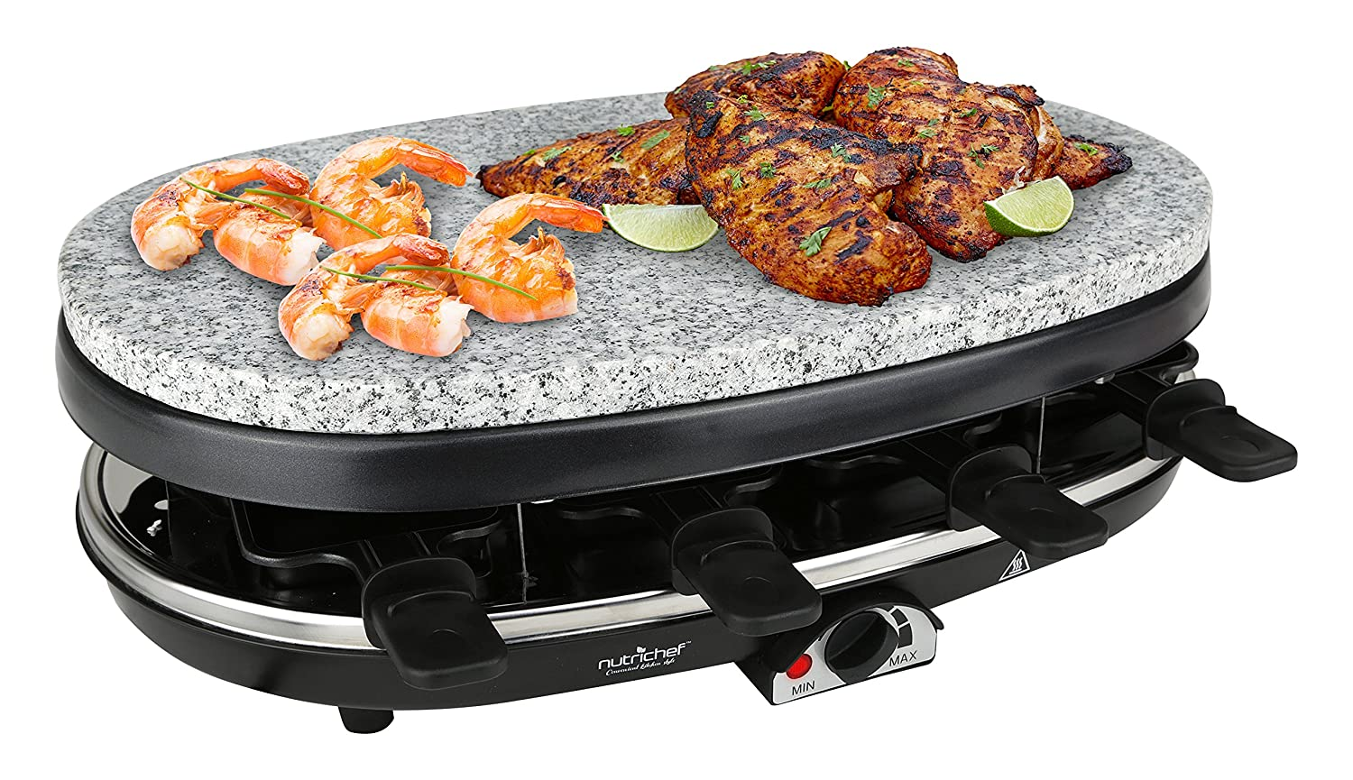 NutriChef Raclette Grill, 8 Person Party Cooktop, Countertop Safe, Stone Plate & Metal Grills, 1000 Watt, 8 Paddles - Great for a Family Get Together or Party (PKGRST46)