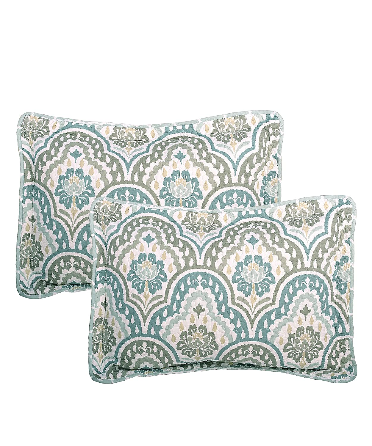 Queen Home Soft Things BNFPMQ5QTI Serenta Tivoli Ikat Design 5 Piece Teal Aqua Printed Prewashed Quilted Coverlet Bedspread Bed cover Summer Quilt Blanket with Cotton Polyester Filled Embroidery Pillow Set