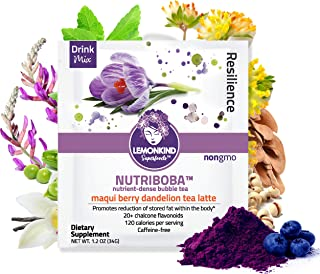 product image for Maqui Berry Fat Burn Latte Infused with Dandelion Tea for Anti-Aging Support & Hunger Control, Made with Organic Plant-Based Ingredients & Gluten-Free, 10 Pack