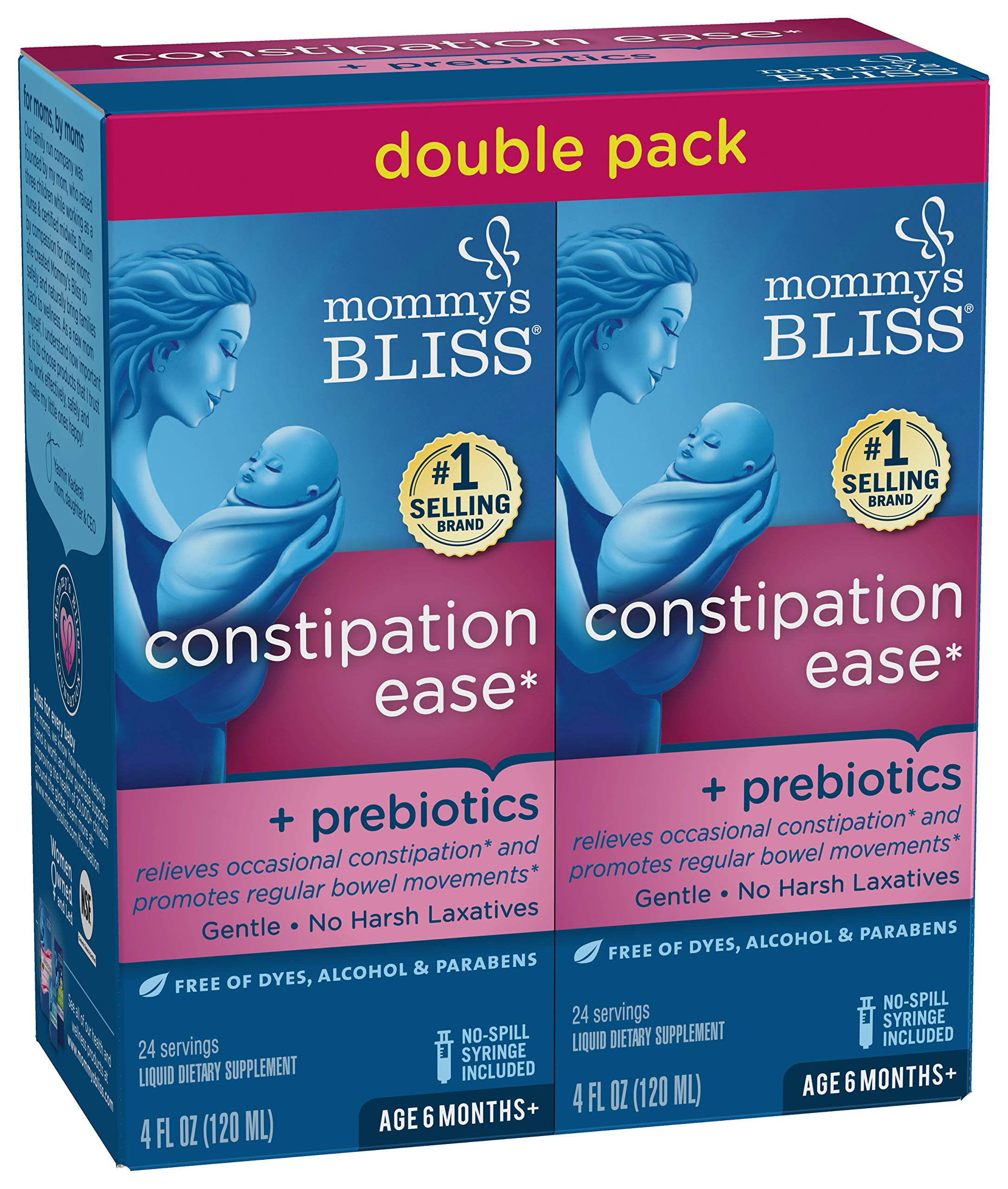 Mommy's Bliss Constipation Ease + Prebiotics, 4 Ounce Bottle (Pack of 2) by Mommy's Bliss