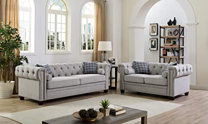 Attractive 2 Piece Linen Fabric Tufted Button Nailhead Trim Design, Scrolled Arm  Chesterfield Style With