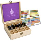Essential Oil Box - Best For Tall Roller Bottles. Natural Pine, Wooden Storage Case. Free EO Labels & Foam Pad. Fits 5ml 10ml And 15ml Drams. Holds Up To 50 Roll Ons (25 Slots)