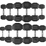 JLL Commercial Dumbbell Heavy Duty Rubber Hex Dumbbell Set Weights Set For Weight Training, 4-32 KG Single Or Pair, Black Colour