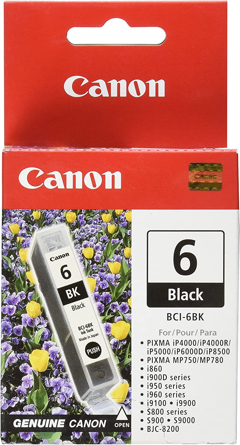 Canon BCI-6 Black Ink Tank Compatible to iP8500, iP6000D, iP5000, iP4000R, iP4000, i9900, i9100, i960, i950, i900D, i860, S9000, S900, MP780, MP760, MP750, S830D, 820D, S820, S800, BJC 8200, 13ML, Model:4705A003