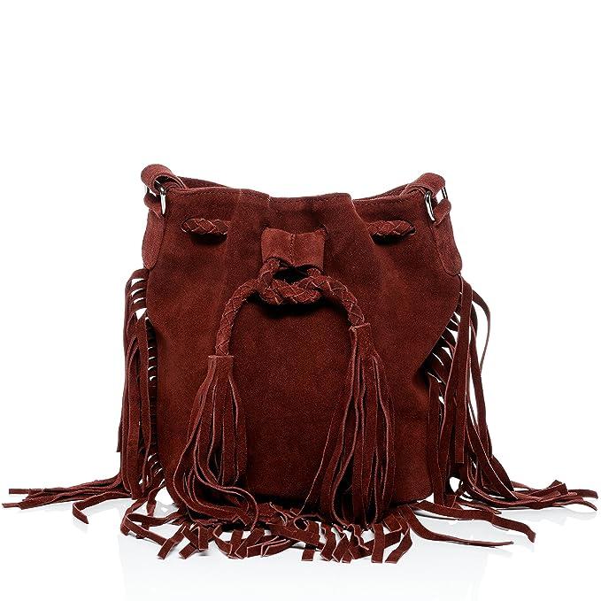 994a0c26d33fe BACCINI Schnürbeutel echt Wildleder Sandra klein Hobo Bag Beuteltasche  Ledertasche Damen rot  Amazon.de  Koffer