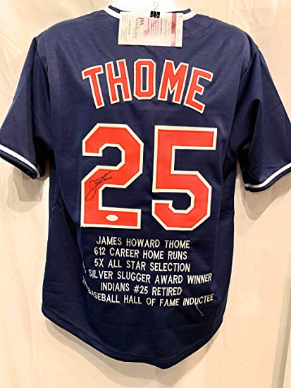 new product 95118 3fc55 Jim Thome Cleveland Indians Signed Autograph Custom Blue ...