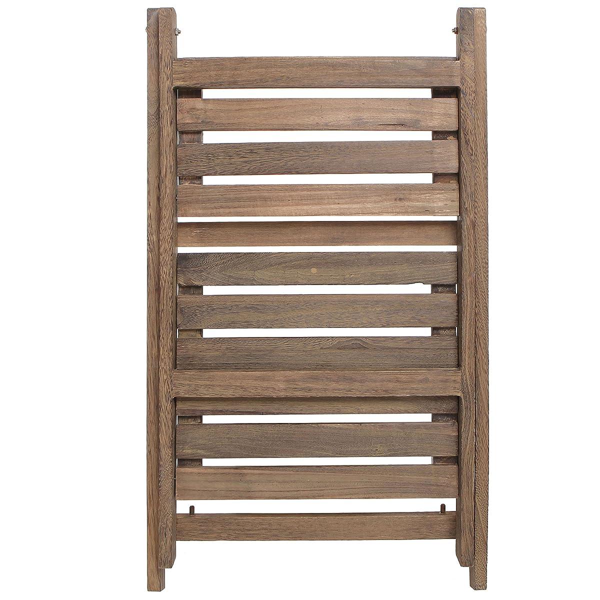 MyGift Rustic Brown Wood Design 2 Tier Freestanding Foldable Shelf Rack/Decorative Planter Pot Display Stand