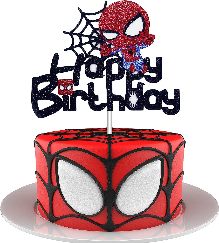 HAKPUOTR Spiderman Happy Birthday Cake Topper for Boy Children Men Birthday Party Decoration, Cute Superhero Theme Birthday Party Decor