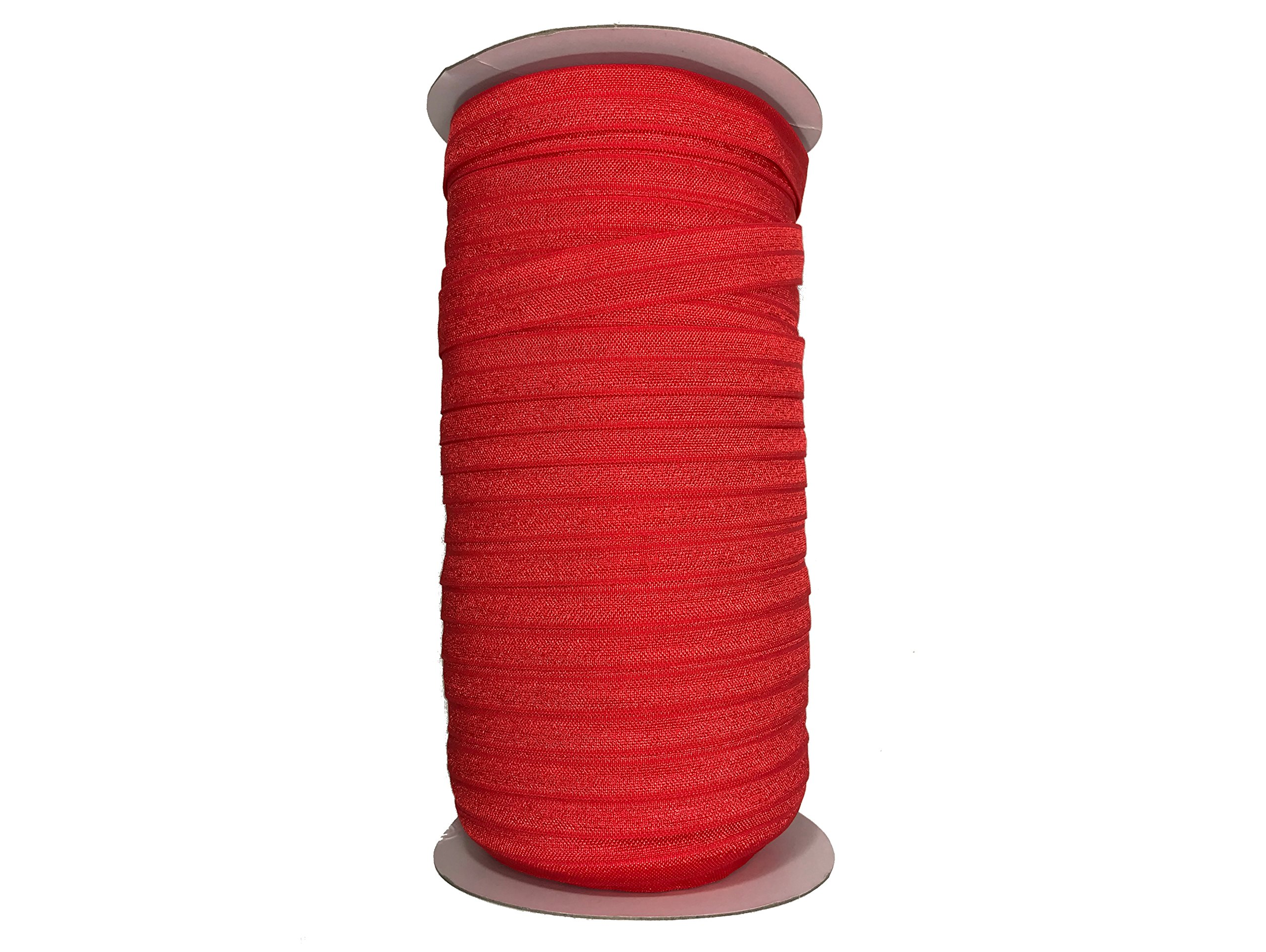 Fold Over Elastic Roll 5/8'' Foldover Elastic FOE Stretch Elastic for Headbands or Hair Ties - 100 Yards (Red) by Bowtique Emilee