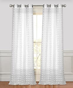 Dainty Home Cut Flower Linen Look Grommet Panel Pair Window Curtain, 76x96'', White, 2 Piece