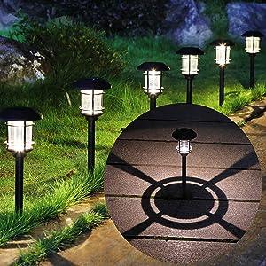 MAGGIFT 6 Lumen Solar Powered Pathway Lights, 6 Pack Outdoor Landscape Lights, Waterproof Solar Garden Lights for Lawn, Patio, Yard, Walkway, Deck, Driveway, Warm White