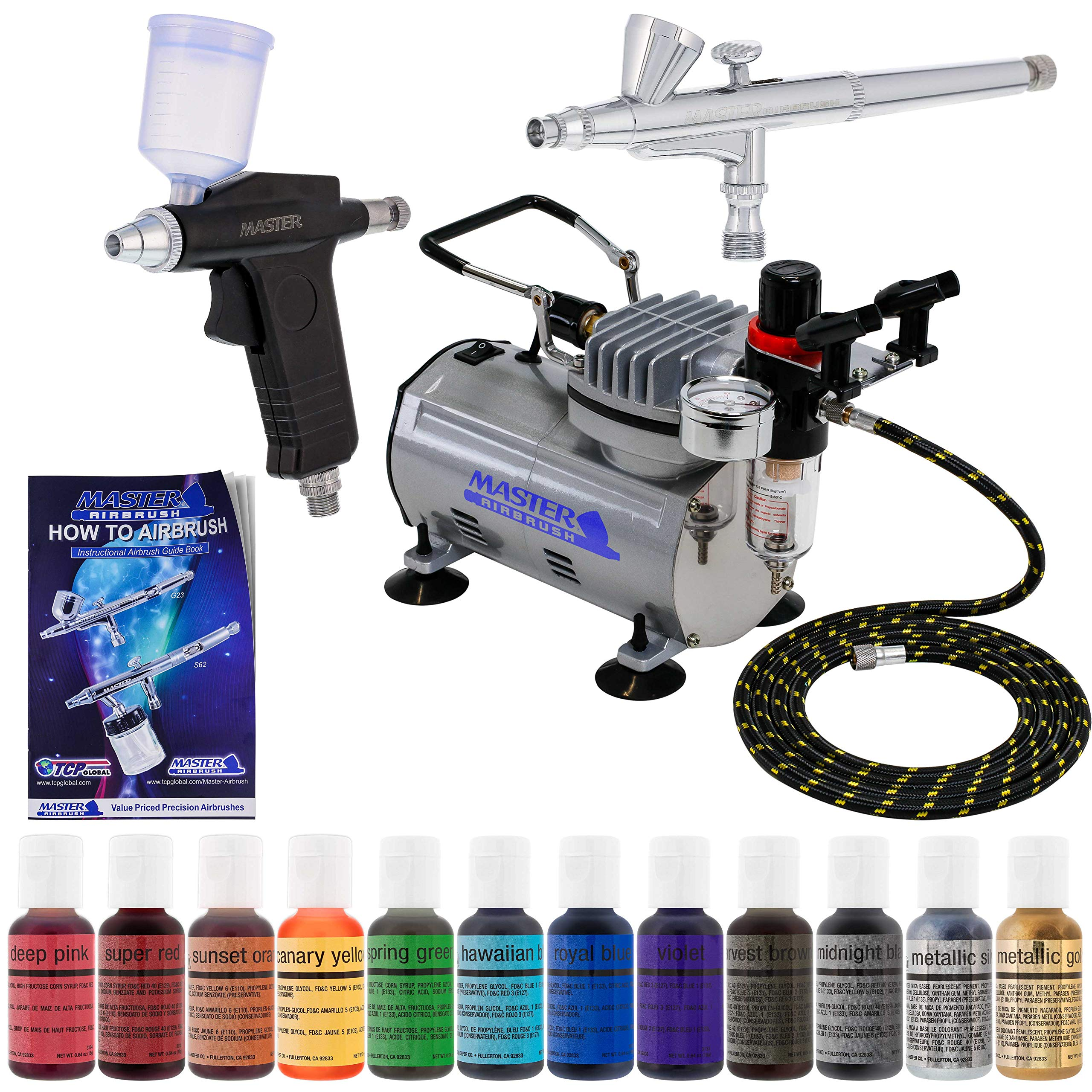 Super Deluxe 2 Airbrush Master Airbrush Cake Decorating Airbrushing System Kit with Set of 12 Chefmaster Food Colors, Gravity Feed Airbrushes, Air Compressor - Decorate Cakes Cupcakes Cookies Desserts by Master Airbrush