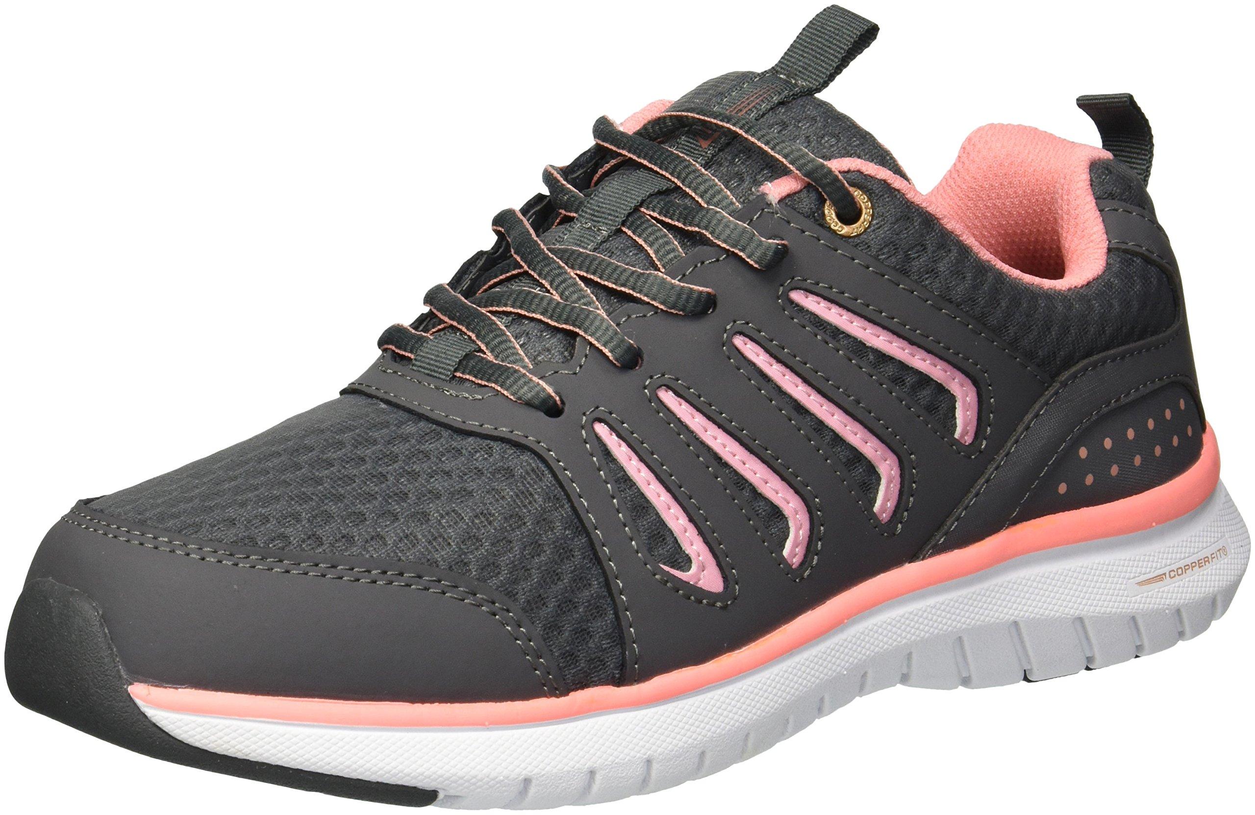 Copper Fit Women's Pace Lace up Sneaker, Grey, 8.5 M US