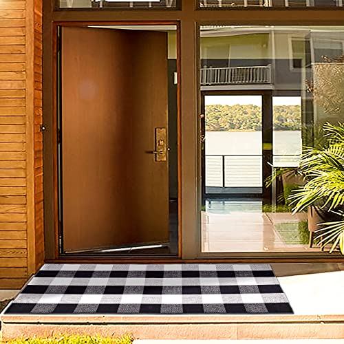 Cotton Buffalo Plaid Check Rug Washable 2 x4.3 Black and White Checkered Doormat Rugs for Layered Kitchen Laundry Room Farmhouse Front Porch Rug Outdoor Checkered Door Mat 23.6 x51 , Plaid