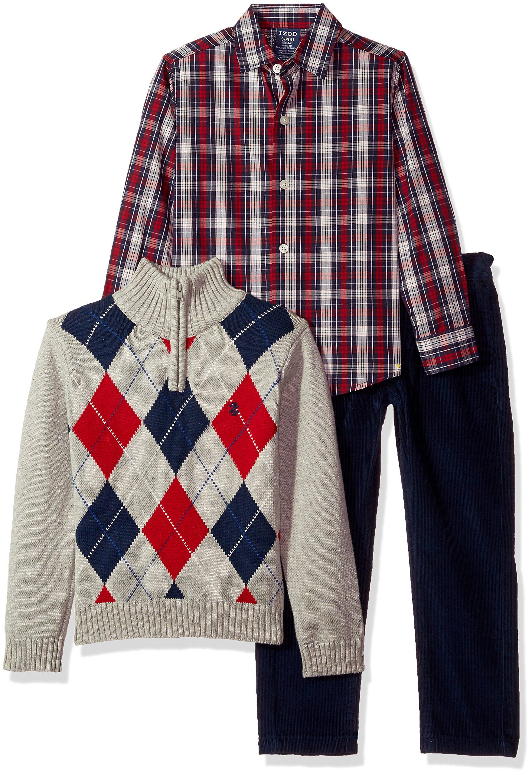Izod boys 3-Piece Sweater, Dress Shirt, and Pants Set,grey heather,2T