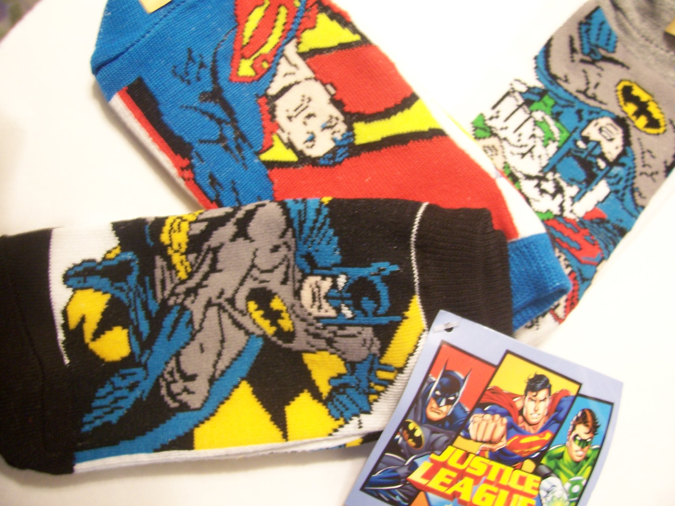 Justice League Boys 3 Pack Socks (Size 6-8.5)