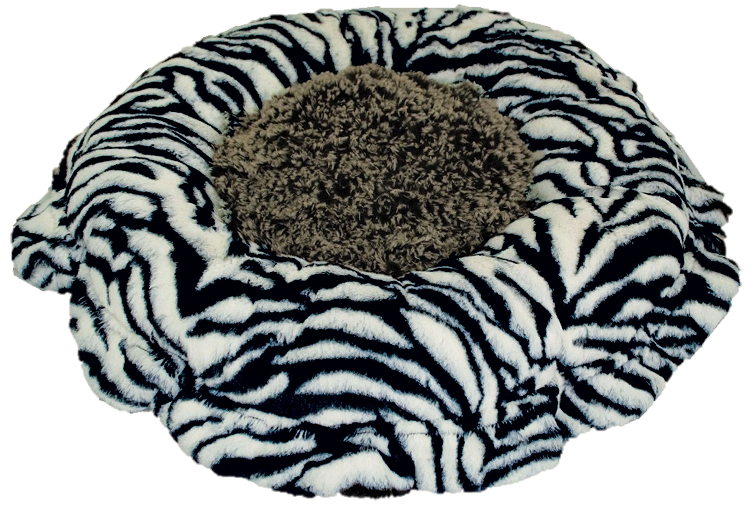 BESSIE AND BARNIE Ultra Plush Zebra/Midnight Frost Luxury Shag Deluxe Dog/Pet Lily Pod Bed by BESSIE AND BARNIE