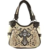 Justin West Floral Embroidery Rhinestone Cross Concealed Carry Shoulder Handbag Tote Purse Trifold Crossbody Wallet
