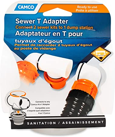 Amazon Com Camco Rv Sewer T Adapter Connects Two Sewer Kits To One Dump Station No Clamps Or Tools Required Includes Washer For Odor Tight Seal 39734 Automotive