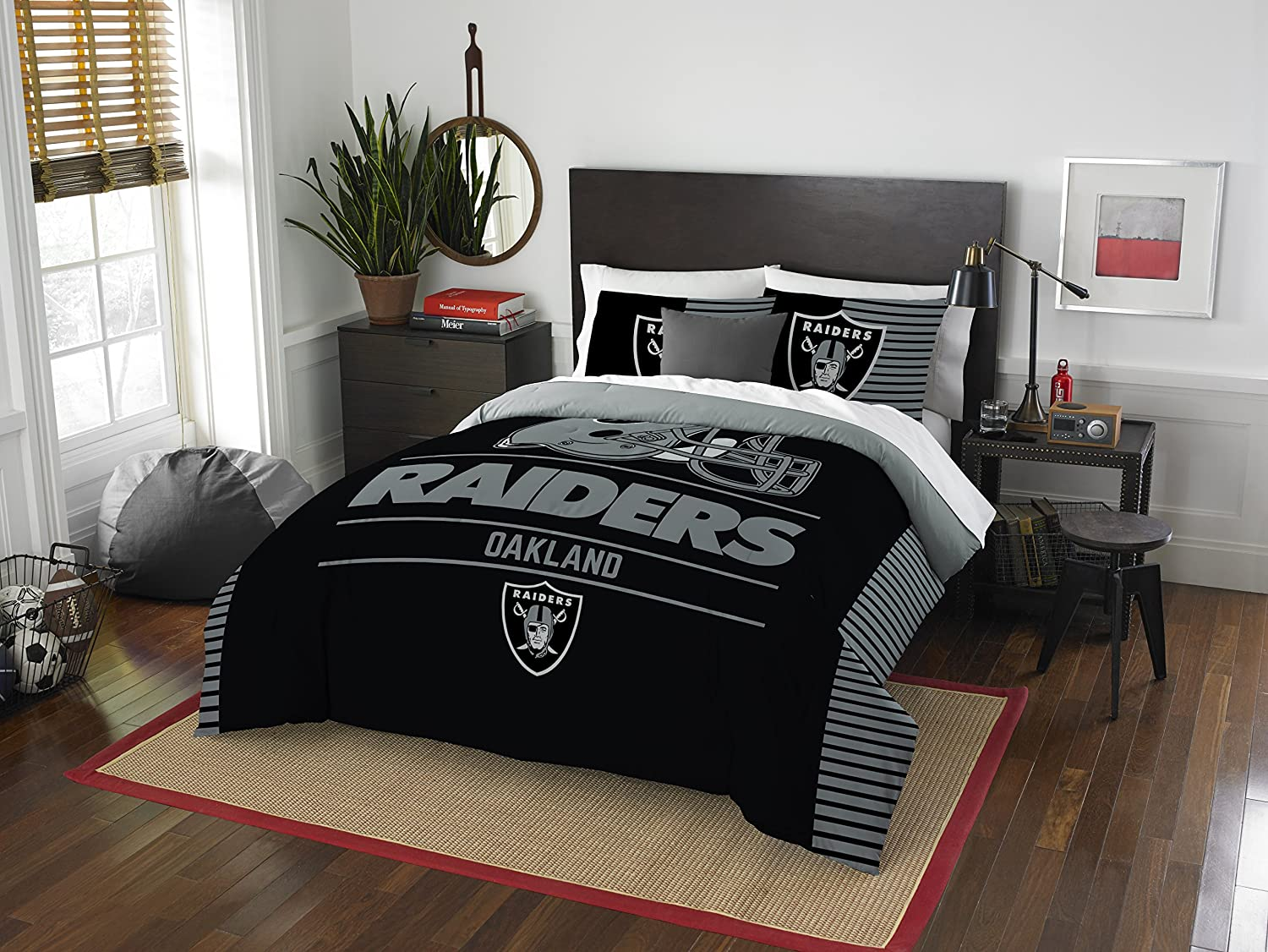 NFL Oakland Raiders Draft Two Sham Set, Silver, Full/Queen Size