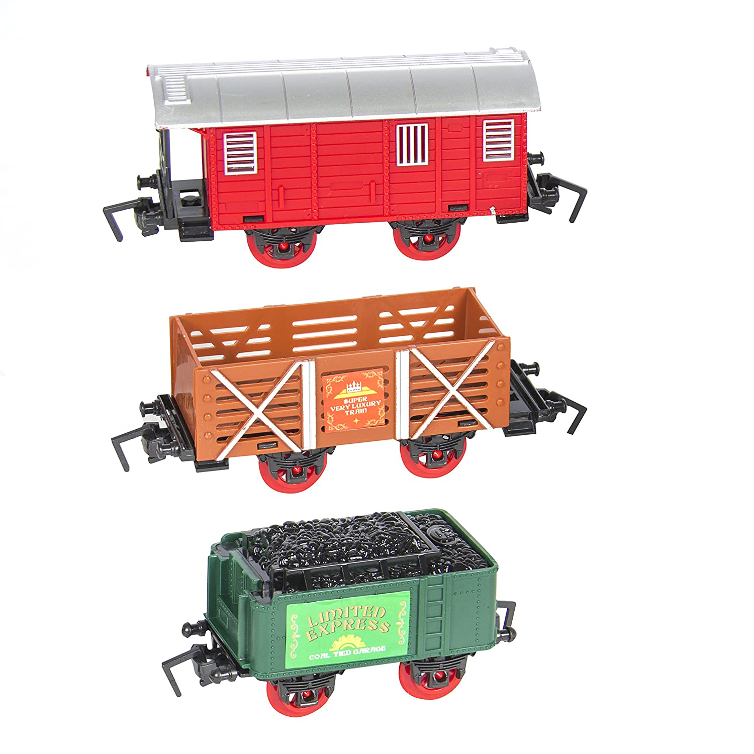 Lights Decor w// Music Best Choice Products Kids Classic Battery Operated Electric Railway Train Car Track Set for Play Toy Multicolor