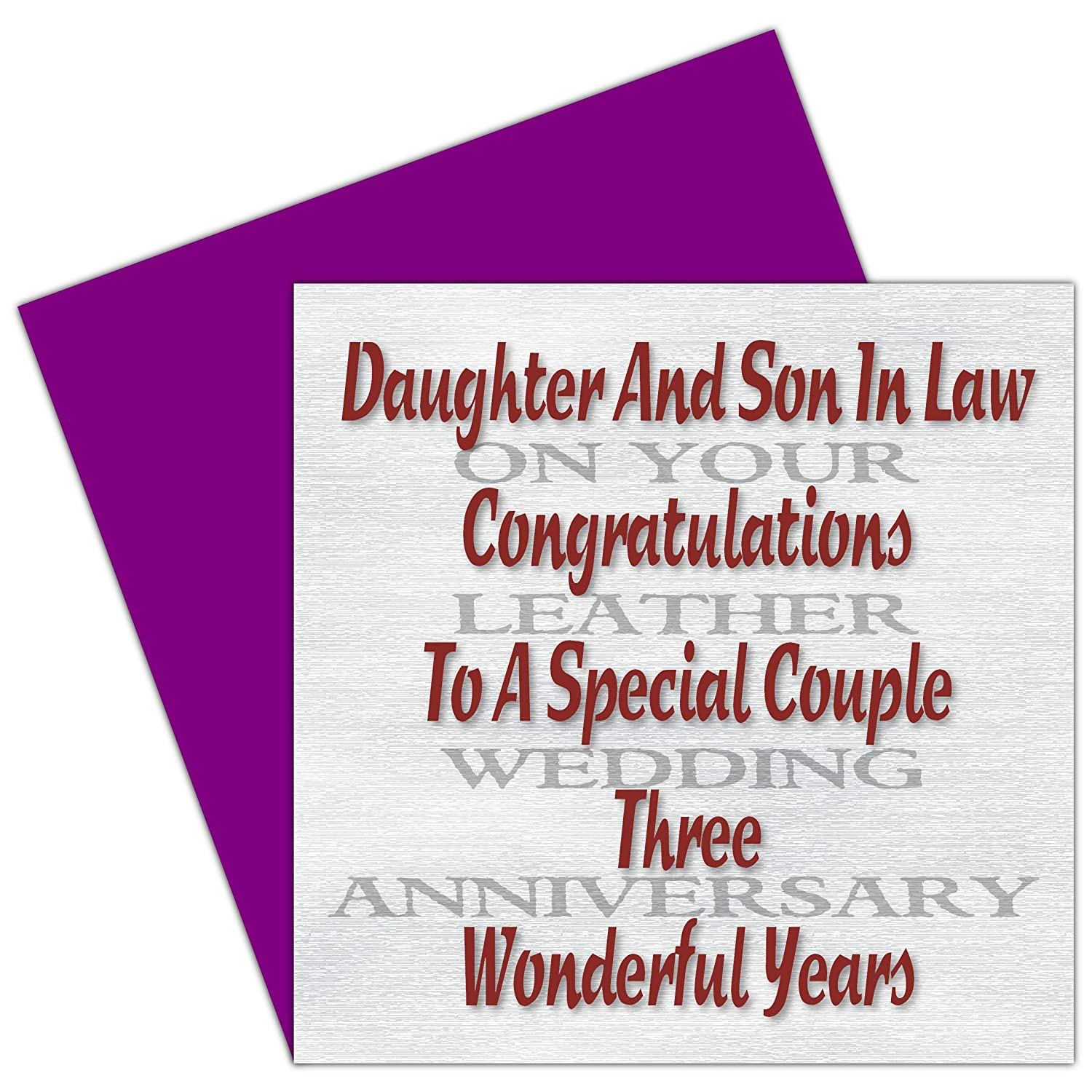 Daughter Son In Law 3rd Wedding Anniversary Card Leather