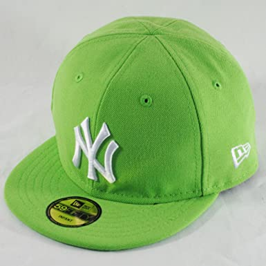 75f287f385c New Era Infant Baby 59fifty NY Yankees Lime Green MLB Fitted Flat Peak Hat  Cap