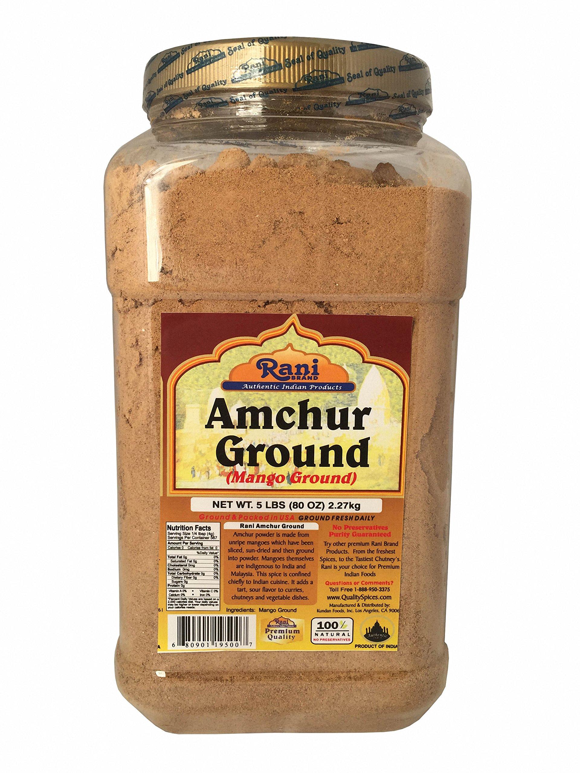 Rani Amchur (Mango) Ground 5lbs (80oz) Bulk, PET Jar ~ All Natural, Indian Origin   No Color   Gluten Free Ingredients   Vegan   NON-GMO   No Salt or fillers by Rani Brand Authentic Indian Products