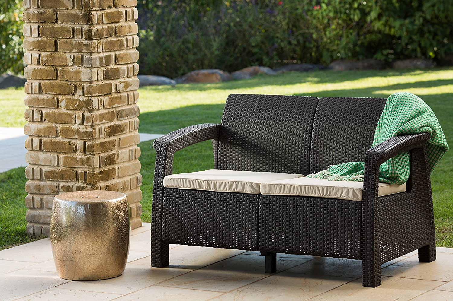 Love seat all weather outdoor patio garden furniture chair for All weather outdoor furniture