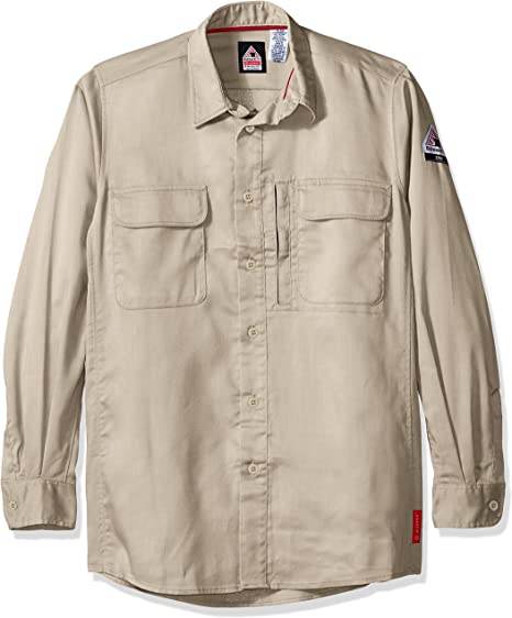 Benchmark Men/'s Cotton Poly Stretch Long Sleeve Shirt Left Chest Pocket Office