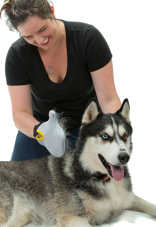Pet Thunder removedor de pelo de mascotas - gato y perro Cepillo de la preparación de guante - Masaje Mitt funciona para Big & Small, largo y pelo corto: ...
