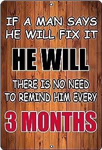 Rogue River Tactical Funny Sarcastic Man Men Metal Tin Sign Wall Decor Man Cave Bar Fix It Repair Sign