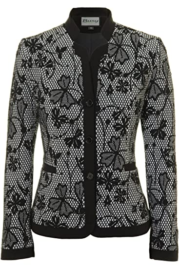 3b52b3fe7288a Busy Clothing Womens Black and White Flowers Jacket: Amazon.co.uk ...