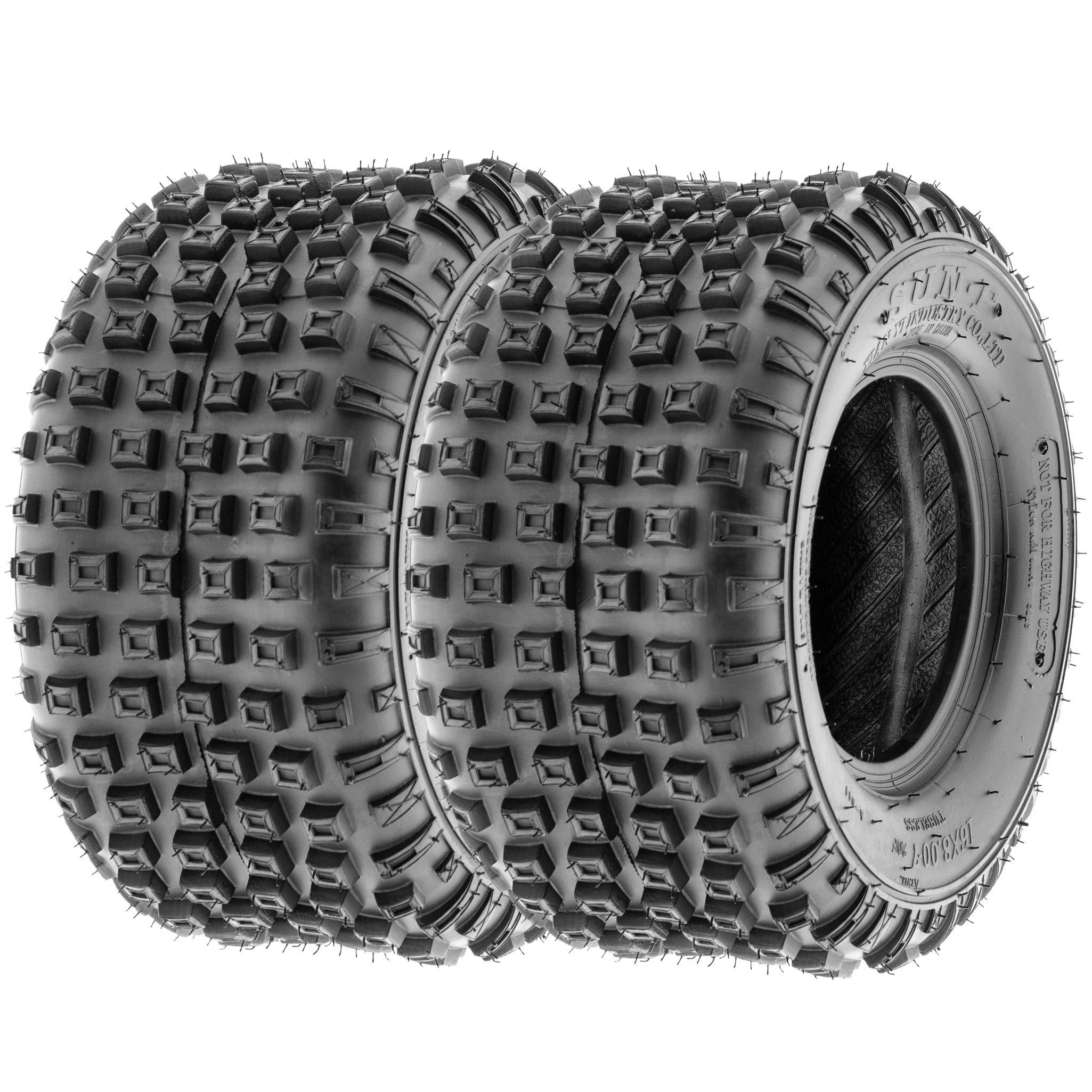 SunF 16x8-7 16x8x7 ATV UTV All Terrain Trail Replacement 6 PR Tubeless Tires A011, [Set of 2]