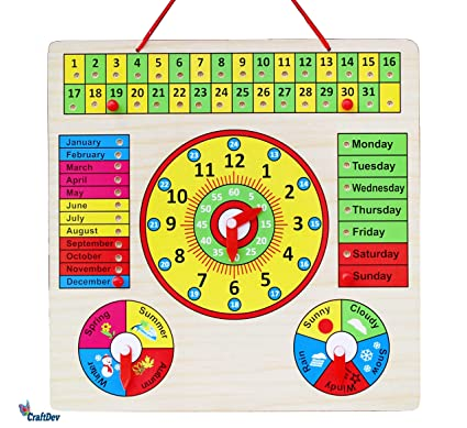 CraftDev Wooden Clock, Calendar Days Month Week Season Weather All in one  Multifunctional Learning Board for Kids with pins