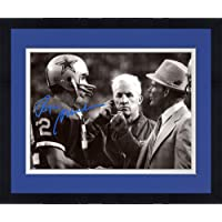 """Framed Roger Staubach Dallas Cowboys Autographed 8"""" x 10"""" Talking with Landry… photo"""