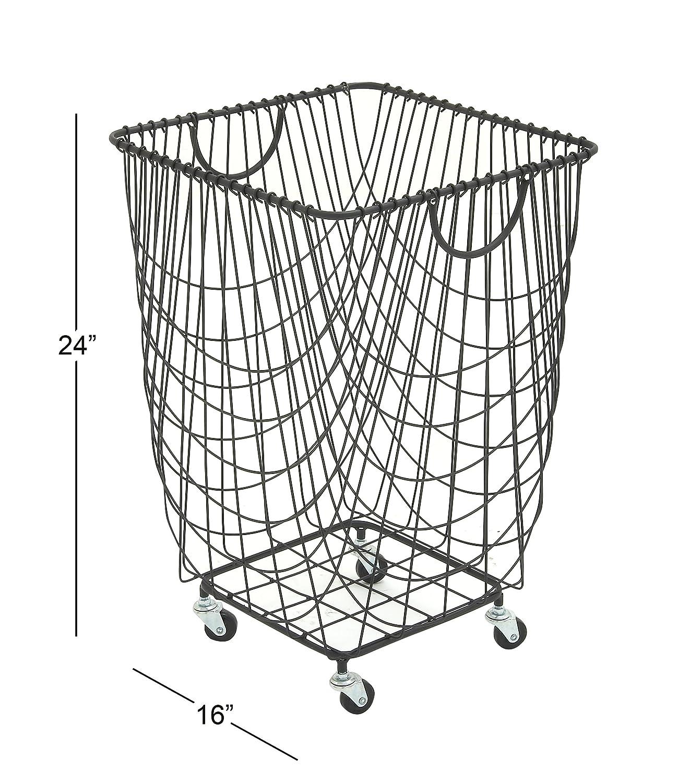 Amazon.com: Deco 79 29021 Metal Roll Hamper Storage Basket, 16\