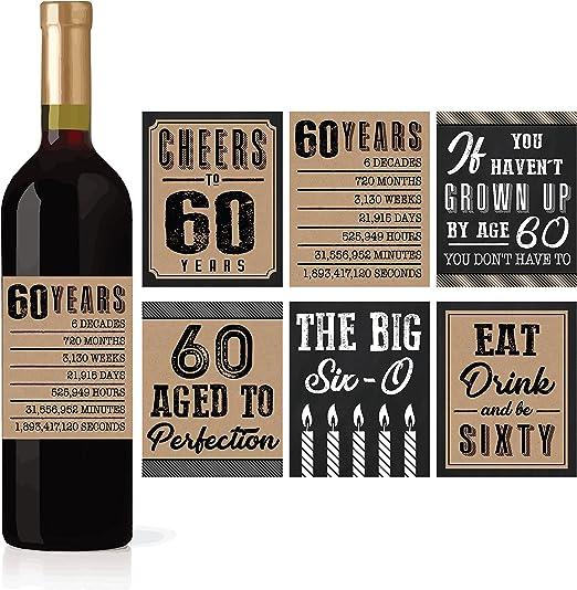 Amazon.com: 6 60 cumpleaños vino o botella de cerveza ...